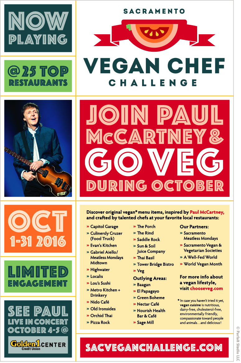 "Poster with headline: ""Join Paul McCartney and Go Veg During October"""